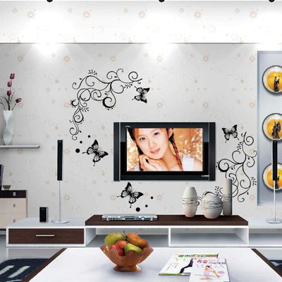 3D Classic Black Butterfly Flower Wall Sticker Home Decor Poster Handled