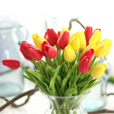 5Pcs Artificial Tulips Fake Flowers For Home Wedding Decoration Handled