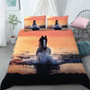 Water Horse Running Sunset Pattern Bedding Set And Blanket