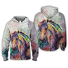 Horse Watercolor Painting Colorful Rainbow All Over Printed Hoodies T Shirt