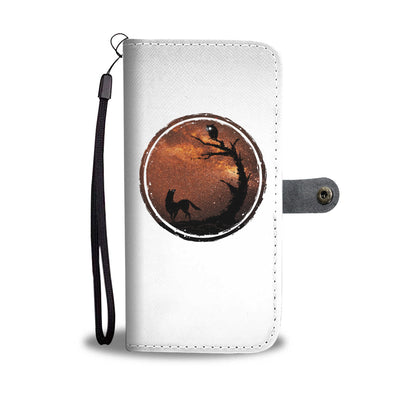 An Owl And A Dog At Night Wallet Phone Case