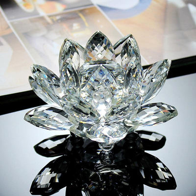 80mm Quartz Crystal Lotus Flower Crafts Glass Ornaments Figurines Decor Gifts