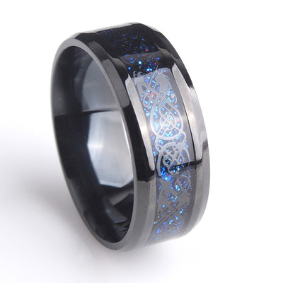 Black Hollow Blue Dragon 316L Stainless Steel Ring Handled