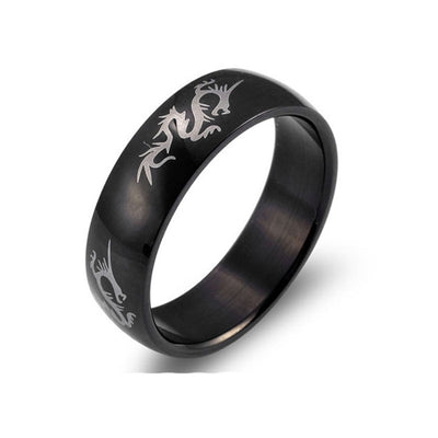 Black Stainless Steel Ring Dragon Pattern Ring For Women Mens Handled
