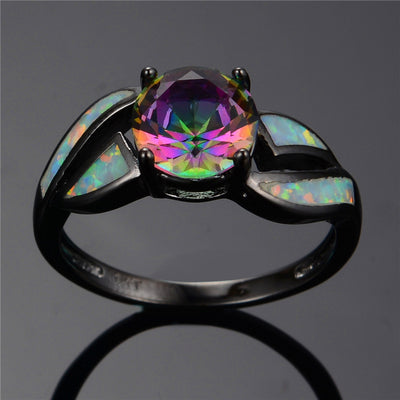 Charming White Fire Opal Ring Colorful Sapphire Rainbow Jewelry Handled