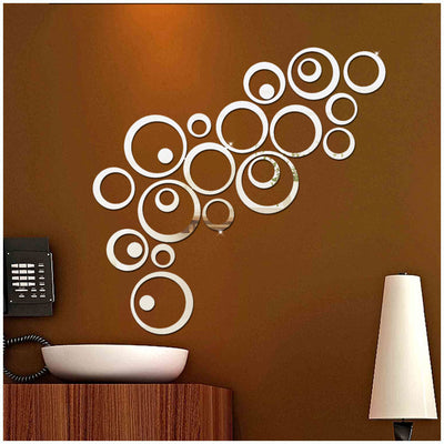 3D Mirror Acrylic Wall Sticker Creative Circle Ring For Home Decoration Handled