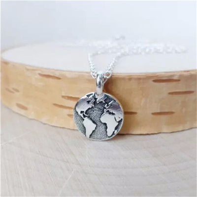 World Map Choker Boho Antique Silver Round Pendant Necklace Handled