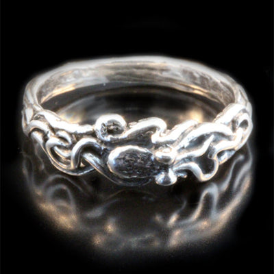 Antique Style Octopus Adjustable Ring Silver Plated Ocean Tentacle Jewelry Handled