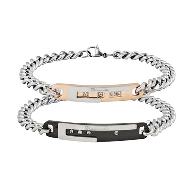 Unique Gift for Lover Couple Stainless Steel Bracelet Handled