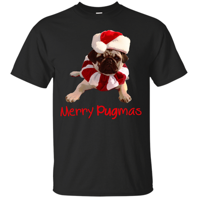 Merry Pugmas Funny Santa Puppy T Shirt For Pug Lover