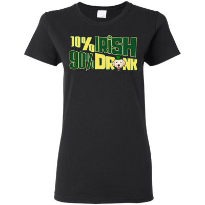 10% Irish 90% Drunk Labrador T Shirt