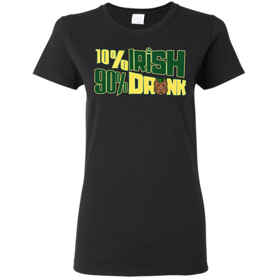 10% Irish 90% Drunk Pitbull T Shirt