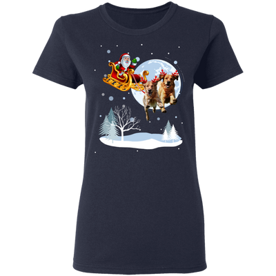 Xmas - Santa With Reindeer Golden Retriever T-shirt
