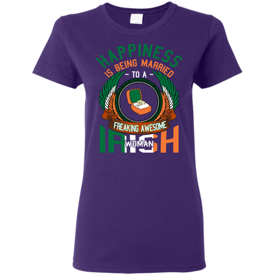 Happiness Is Being Married To A Freaking Awesome Irish Woman T Shirt