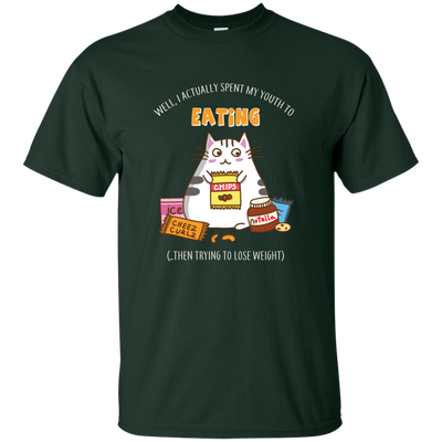 Amazing Cat Tshirts Eating Then Trying To Lose Weight T Shirt