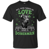Nice Doberman T Shirt - All You Need Is Love Doberman St Patrick