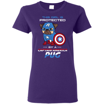 Nice Pug T Shirt - This Girl Is Protected By Captain America Pug