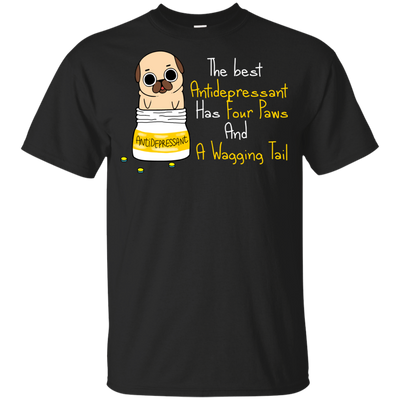 Funny Pug T Shirt The Best Antidepressant Has Fuor Paws And A Purr V1