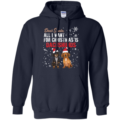 Lovely Dog T Shirt Dear Santa All I Want For Christmas Is Dachshumds