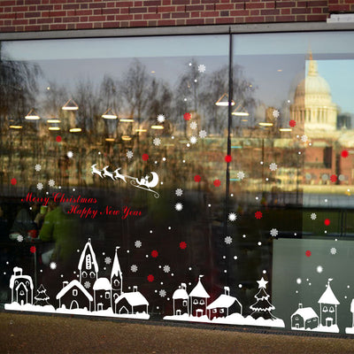 White Snow Town Christmas Wall Sticker Window Glass Decorations Handled