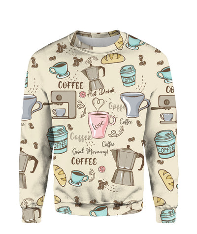 Morning Coffee Pattern All Over Printed Apparel