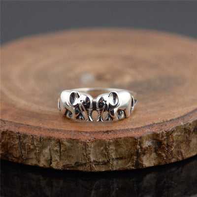 Sterling Silver Ring Fine Auspicious Elephant Jewelry Ring Handled