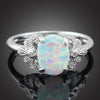 Elegant Oval White Fire Opal Stones Claw Ring Handled