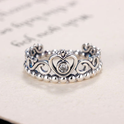 Silver Color My Princess Queen Crown Engagement Pandora Ring Handled