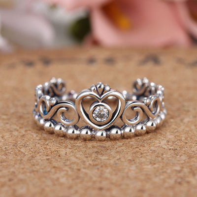 4599ab4a5aa3c3 Silver Color My Princess Queen Crown Engagement Pandora Ring Handled ...