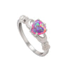 Heart Rainbow Opal Ring Fashion White Fire Black Gold Filled Ring Handled