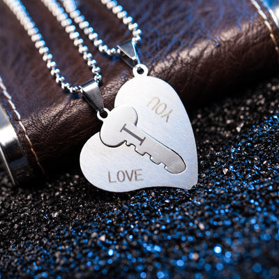 Heart and Key Necklace Couple Unlock My Heart Necklace Stainless Steel Handled