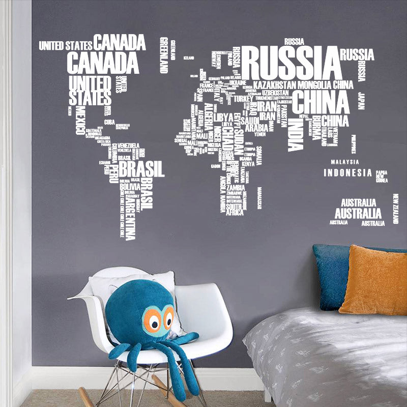 animal world map wall stickers for home decorations decal mural art diy