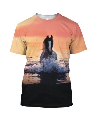 Horse Running In The Water At Sunset All Over Printed Apparel