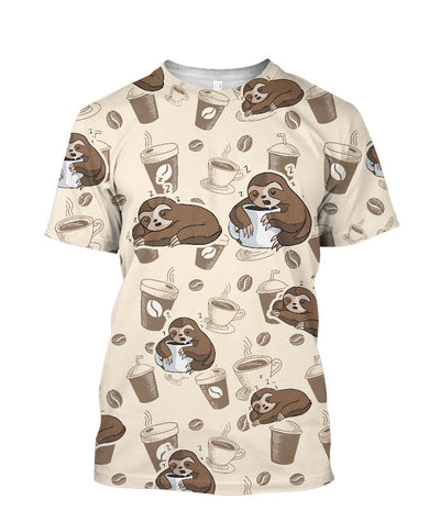 Sleeping Sloth Before Coffee After Coffee All Over Printed Apparel