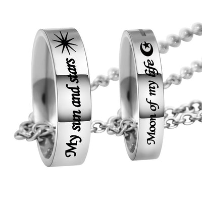 2PCs Couples Necklace Engraving Text His Queen Her King Lovers Gift Handled