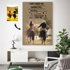 Sweet Couple Riding Horse Custom Canvas Print
