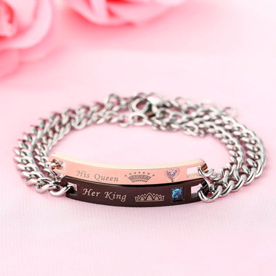 Titanium Her King His Queen Letters Bracelet Black Rose Gold For Couples Handled