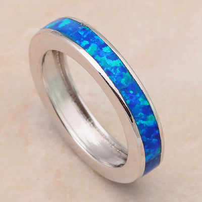 Blue Fire Opal Silver Stamped Ring Jewelry For Women Handled