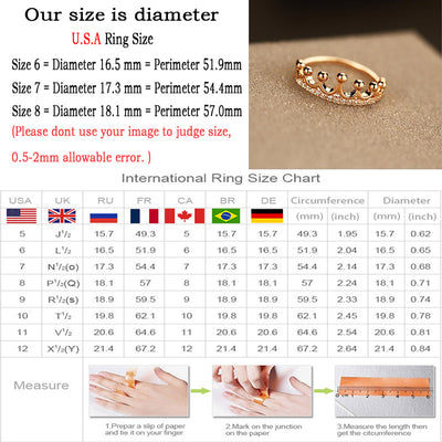 Luxury Crown Queen Ring Rose Gold Metal Zircon Crystal Ring Handled