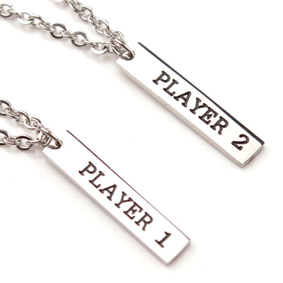 Player 1 Player 2 Gamer Video Game Couple's Necklace Handled