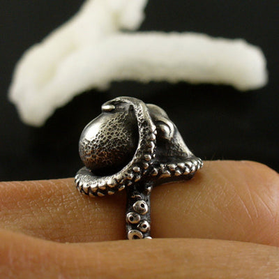Adjustable Deep Sea Octopus Ancient Silver Plating Ring Handled
