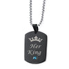 Jewelry Letter Her King His Queen Lover Necklace With Pink Blue Crystal Couples Handled
