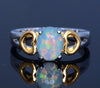 Trendy Gold and Silver Plated Heart Shaped White Fire Opal Ring Handled