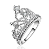 Women Jewelry Silver Set Princess Corrugated Crystal Crown Ring Handled