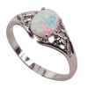 White Fire Created Opal Ring Stainless Steel Ring Handled