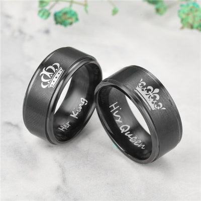 Stainless Steel Ring Sets King and Queen His and Hers Couple Handled