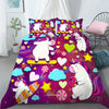 Funny 3D Unicorns - Stars - Hearts - Clouds Bedding Set And Blanket