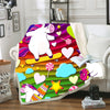 Stars - Hearts - Clouds With 3D Unicorns Pattern Bedding Set And Blanket