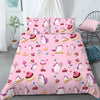 Funny 3D Unicorns With Cakes Pink Background Bedding Set And Blanket