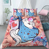 Baby Unicorn Flowers And Heart Full Print Bedding Set And Blanket